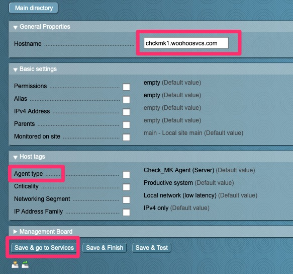 Select host monitoring configuration