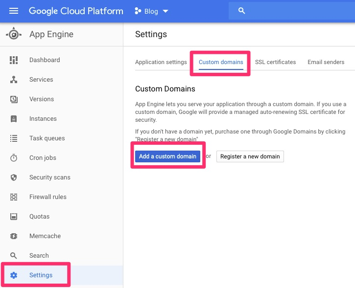 GAE / Settings / Custom Domains / Add
