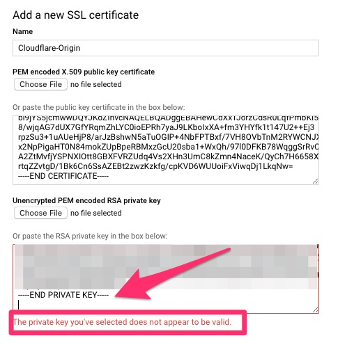 The private key you've selected does not appear to be valid.