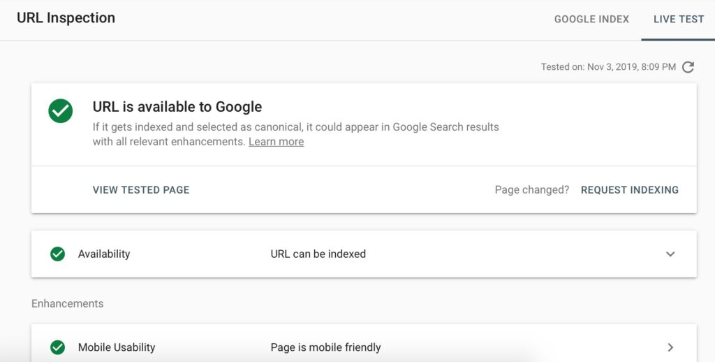 URL Inspection in Google Search Console - Live Test