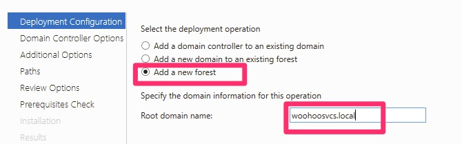 Add a new forest for Active Directory Domain Services