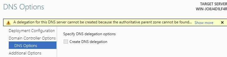A delegation for this DNS server cannot be created because the authoritative parent zone cannot be found.