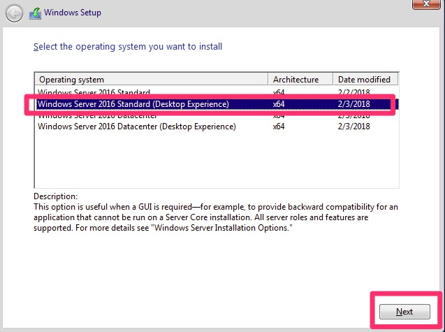 Windows Server 2016 Standard (Desktop Experience)
