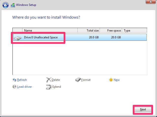 Windows Drive Installation