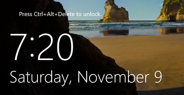 Windows 2016 Login Screen
