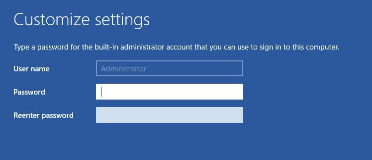 Customize settings - Administrator - Password