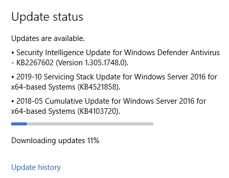 Windows Update Status - Updates are available.