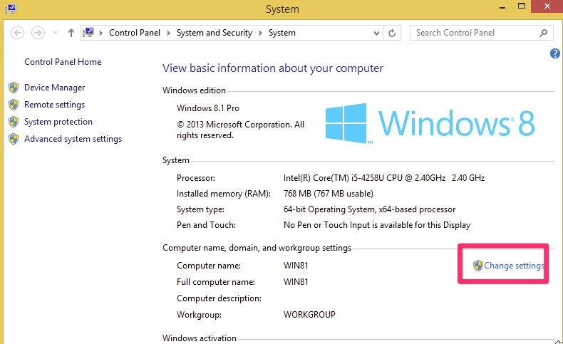 Windows 8 - Change Settings