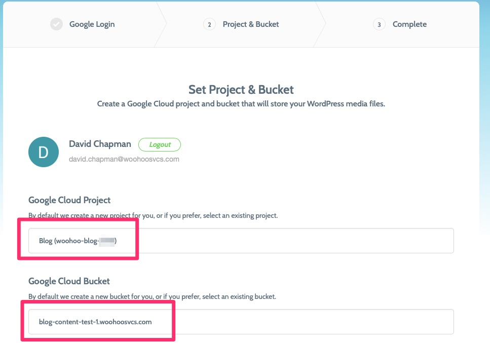 Select your Project and Bucket
