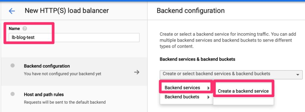 Google Load Balancer - Back End Create