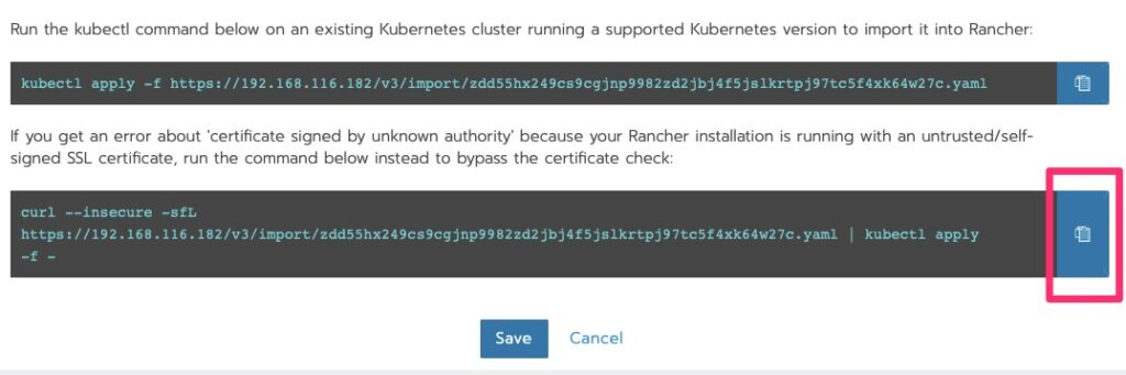 Copy the bottom option to the clipboard since we used a self-signed cert that the Kubernetes cluster does not trust.