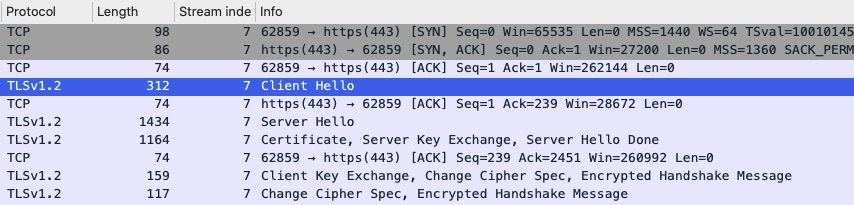TLS Handshake from Packet Capture