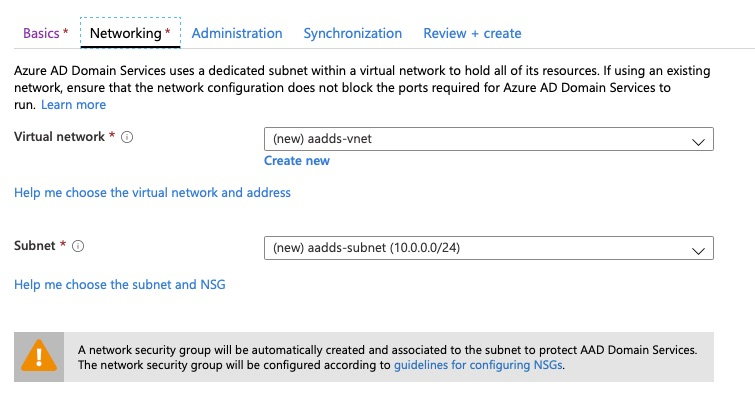 Azure AD Domain Services - Networking